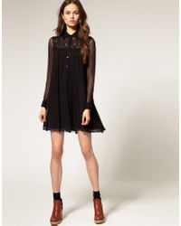 ASOS Collection   Natural Asos Petite Swing Dress in Lace Chiffon   Lyst
