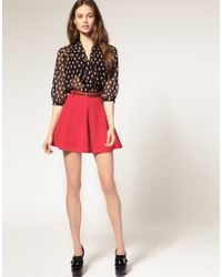ASOS Collection | Red Asos Ponti Mini Skirt with Belt | Lyst