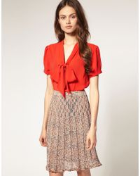 ASOS Collection | Red Asos Pussybow Short Sleeve Blouse | Lyst