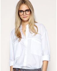 ASOS Collection | White Asos Oversized Pocket Boyfriend Shirt | Lyst