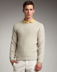 Brunello Cucinelli | Natural Ribbed Raglan-sleeve Sweater for Men | Lyst