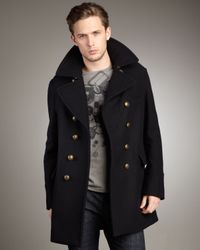 Burberry Brit | Black Dome-button Peacoat for Men | Lyst