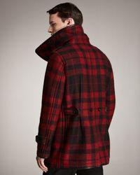 Burberry Prorsum - Black Plaid Pea Coat for Men - Lyst