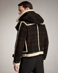 Burberry Prorsum - Brown Shearling-trim Check Blouson Jacket for Men - Lyst