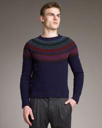 Burberry Prorsum Blue Fair Isle Sweater for men