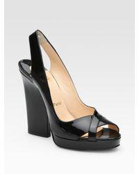 Christian Louboutin | Black Patent Leather Platform Slingbacks | Lyst