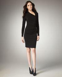 David Meister Black Asymmetric-neck Jersey Dress