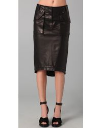 Derek Lam | Black Utility Leather Skirt | Lyst