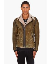 DIESEL | Leskoc Green Leather Jacket for Men | Lyst