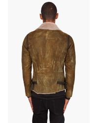 DIESEL - Leskoc Green Leather Jacket for Men - Lyst