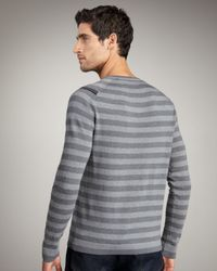 Elie Tahari - Gray Benton Striped Merino Sweater for Men - Lyst
