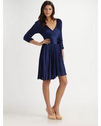 Halston   Blue Knit Wrap Dress   Lyst