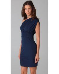 Halston | Blue One Shoulder Gathered Dress | Lyst