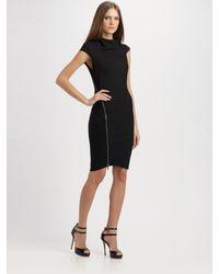 Helmut Lang | Black Sonar Zippered Wool Jersey Dress | Lyst