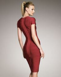 Hervé Léger - Red Knee-length Bandage Dress - Lyst