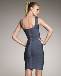 Hervé Léger | Blue Scoop-neck Bandage Dress, Dark Teal | Lyst