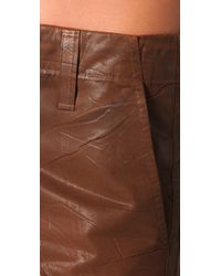 J Brand | Brown Waxed Shorts | Lyst