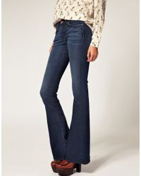 J Brand | Blue Martini Mid Rise Skinny Flare Jean In Mayflower | Lyst