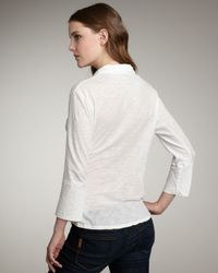 James Perse - White V-neck Button Top - Lyst