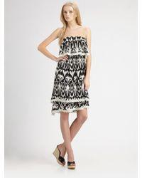 Love Sam | Black Ikat Strapless Dress | Lyst
