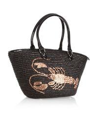 Lulu Guinness Black Bonnie Lobster Basket Tote