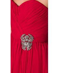 Marchesa Red Strapless Chiffon Dress
