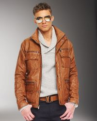 Michael Kors | Brown Leather Utility Jacket for Men | Lyst