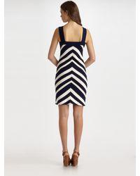 MILLY | Black Chevron-stripe Dress | Lyst
