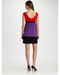 MILLY   Multicolor Natalie Belted Colorblock Dress   Lyst