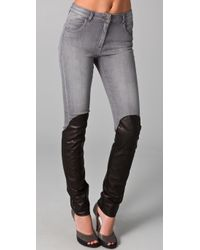 Opening Ceremony - Gray Combo Jeans with Leather Leg - Lyst