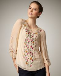Nanette Lepore | Natural Embroidered Silk Blouse | Lyst