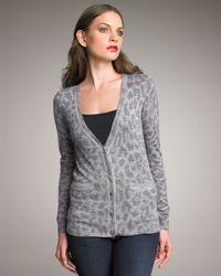 Rebecca Taylor | Gray Cloud Leopard-print Cardigan | Lyst