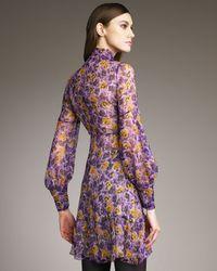 RED Valentino - Purple Pansy-print Tie-neck Dress - Lyst
