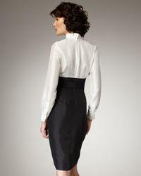 Neiman Marcus - Black Ruffled Belted Dress - Lyst