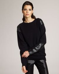 Stella McCartney - Black Faux-leather Patch Sweater - Lyst