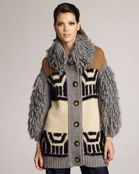 Stella McCartney | Natural Shag-accent Intarsia Sweater | Lyst