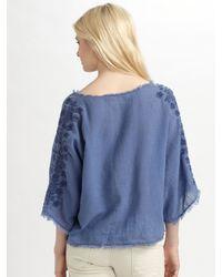 Textile Elizabeth and James - Blue Embroidered Parker Top - Lyst