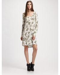 Thakoon   Gray Long-sleeve Floral T-shirt Dress   Lyst