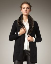 Theory | Black Fur-trimmed Cashmere Cardigan | Lyst