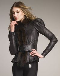 Thomas Wylde | Black Fur-collar Leather Jacket | Lyst