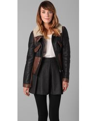 Tibi | Black Shearling Leather Biker Jacket | Lyst