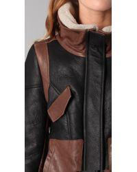 Tibi - Black Shearling Leather Biker Jacket - Lyst