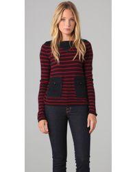 Tory Burch | Blue Owen Striped Cashmere Sweater | Lyst