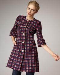 Trina Turk | Blue Circle-plaid Lady Coat | Lyst
