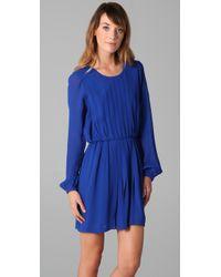 Twelfth Street Cynthia Vincent - Blue Long Sleeve Pleated Dress - Lyst
