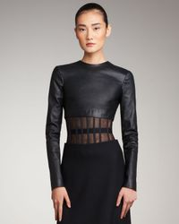 Versus | Black Cropped Long-sleeve Leather Top | Lyst