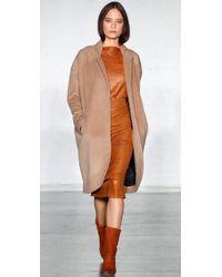 Zero + Maria Cornejo - Brown Leather-covered Pencil Skirt - Lyst