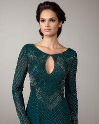 Aidan Mattox | Green Sequin Keyhole Dress | Lyst