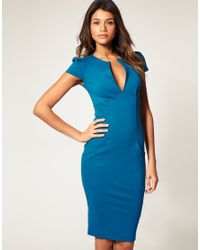 ASOS Collection | Blue Asos Ponti Pencil Dress with Pockets | Lyst