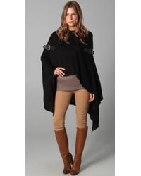Foley + Corinna | Black Knit Poncho with Leather Buckles | Lyst